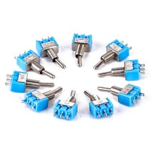 10pcs Miniature Toggle Switches Blue MTS-102 3-Pin SPDT ON-ON Toggle Switche 6A 125VAC For Auto Car Accessories(China)