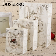 European Retro Printed Paper Gift Bags Wedding Party Favor Candy Treat Bag Bakery Bread Cookies Cake Packaging Handbag