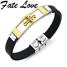 Fate Love Silicone Stainless Steel Cross Bracelet Bangle For Men Silver Gold Black Wristband Masculine Cool Jewelry 1086