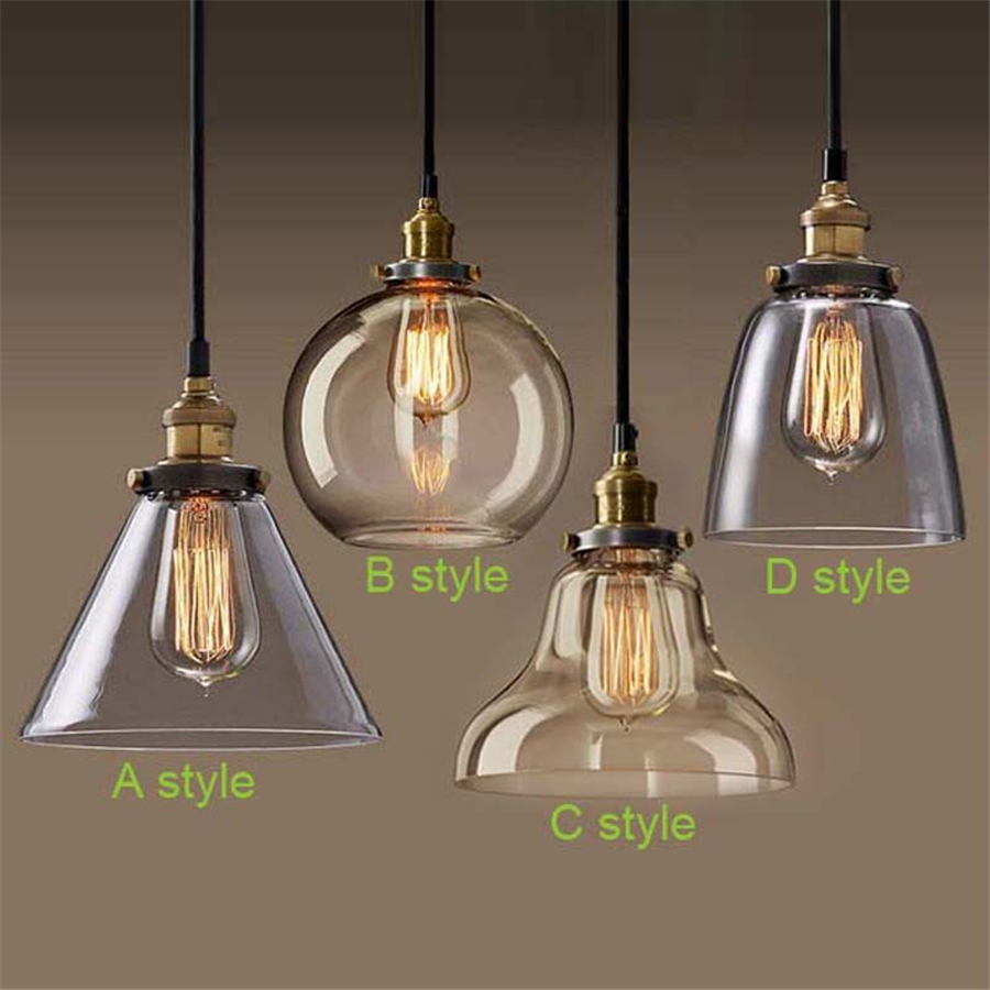 Retro Vintage Pendant Lights Clear Glass Lampshade Loft Pendant Lamps E27 110V 220V for Dinning Room Home Decoration Lighting<br>