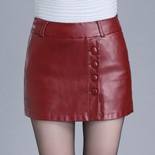 Spring Fall Fashion Women's Wine Red Black Buttons PU Leather Shorts Skirts , Autumn Winter Female Woman Slim 4XL 3xl 5XL Shorts(China)