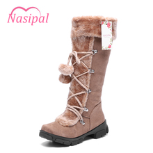 Buy Nasipal Winter Warm Thickened Fur Knee High Boots Flat Heel Women Shoes Fashion Sexy Botas Long Woman Footwear size 35-40 C152 for $22.24 in AliExpress store
