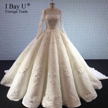 Luxury Beading Perfect Pleating Wedding Dress 2017 New Arabic Dubai Puffy Lace Bridal Dresses Amazing High Quality Bridal Gown