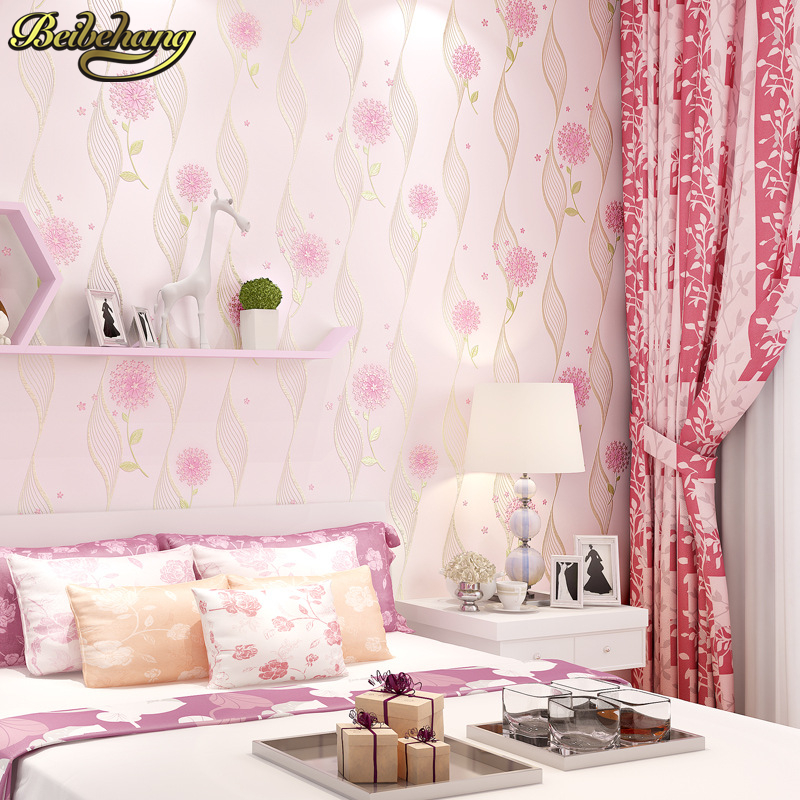 beibehang Non woven Embossed Wallpaper Pastoral Style Flower Pattern Wallpaper roll Living Room Girl Room Minimalist Stripe Wall<br>