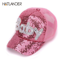 New Real Mesh Cap For Children Gift Baseball Caps Baby Diamond Sequin Sun Hats Adjustable Summer Kids And Hat Snapback(China)