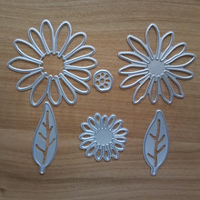 6Pcs/set DIY Chrysant Flower with Leaves Metal Die cutting Dies For Scrapbooking Photo Album Decorative Embossing Folder(China)