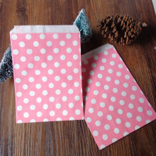 100pcs Pink Dots Paper Bags Strung Food Quality Craft Favor Candy Snack Bag Gift Treat Paper Bag Party Favor 5 x 7inch
