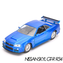 Brand New 1:32 JADA NISSAN SKYL GT-R R34 Alloy Diecast Model Car Vehicle Toy For Children Gift Collection Toys(China)