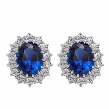white gold color brand Royal Blue William Kate Queen wedding Austrian Crystal zircon rhinestones stud Earrings jewelry 8585