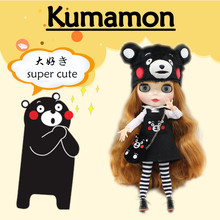 Kumamon Free shipping for icy blyth doll jecci five 1/6 30cm hat bag stocking shirt suit dress super cute doll BL764A