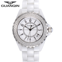 Relojes Mujer 2016 GUANQIN Quartz Watch Women Waterproof White Ceramic Watches Brand Luxury Ladies Watch relogio feminino