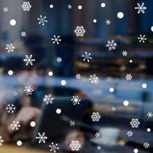Keythemelife Snowflake Window Stickers New Year Christmas Wall Stickers Window Glass Cabinets Backdrop Decor C2(China)