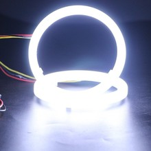 2PCS Dual Color Auto Headlight Halo Rings Light Guide Angle ring  White+Yellow Color drl Car Fog Cotton light for any car