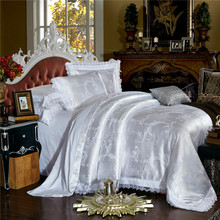 Luxury Wedding Modal satin  Silk Cotton Jacquard White Bedding Sets King Queen Size Duvet cover set Bed spread Pillowcases