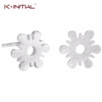 1Pcs  New Flowers Stud Earrings 925 Silver Snow Flake Stud Earring for Women Birthday Fashion Ear Piercing Jewelry Bijoux