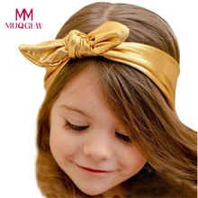 Fashion Rabbit Design Elasticity Wash Gold Baby Girl Headband Hair Accessory Lovely Children Kids Hairbands Drop Shipshipng(China)
