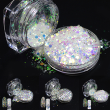 1 bottle Nail Glitter Sparkly Shinny Rhombus Hexagon Paillette 3d Nail Art Decorations Nail Powder Dust Polish Tips T01-04