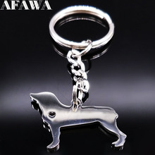 2017 Dog Stainless Steel Keychains Women Pokemon Figures Silver Color Keychains Jewelry Christmas Gift llaveros de acero K77269(China)
