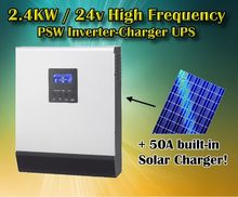 3kva 2400w 24v 220vac off grid solar inverter pure sine wave inverter 50A solar charger 30A battery charger