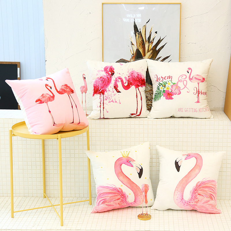 Cute Flamingo Cushion Pillow Case Flamingo Party Bedroom Sofa Home Decoration accessories Birthday/Wedding Favors and Gifts 2