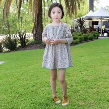 Korean children's clothing girls summer new lovely animal cartoon printing grey dress cotton middle sleeved kids Princess dress