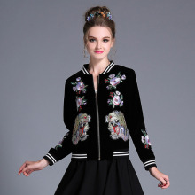 OUYALIN Plus Size Top 2017 Spring New Women Casual Zipper Base Ball Jacket Coat Outwear Floral & Tiger Embroidered Lady Casaco