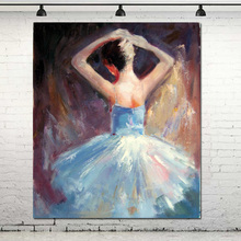 Hand Painted Modern Contemporary Figurative Art Oil Painting Abstract Ballerina Art PaintingModern Home Living Room Decor(China)