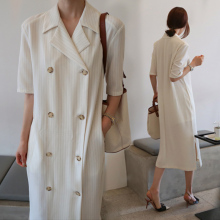 2017 New Korean Style Women Dress Striped Fashion Notched Short Sleeve Cotton Lady Dres Cotton Loose Split The Fork Women Dress