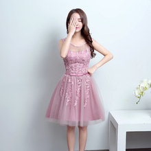 LF830D#New round collar short bridesmaid dresses 2017 Korean sister bridesmaids dress wedding gown wholesale custom-made