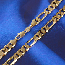 Mens 24k Solid Gold GF 8mm Italian Figaro Link Chain Necklace 24 Inches