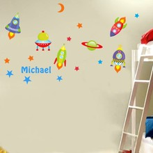 Custom Kids Name Stars Wall Stickers Creative DIY Rocket Spaceship Art Mural Cartoon Decals Boys Room Decor