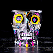 3D Crystal painted Novelty Double Wall Skull Shot Drink Cocktail Vodka Whiskey Glass Cup Copo De Vidro Cup Bar Beer Cup