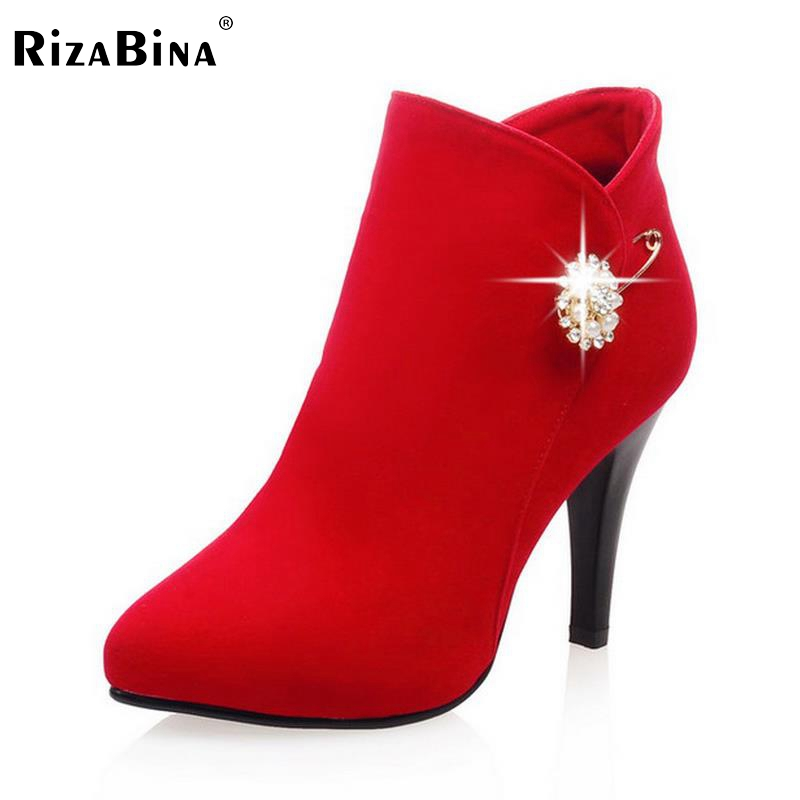 RizaBina size 33-41 women high heel ankle boots autumn winter warm snow boot botas brand heels footwear shoes P21732