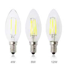 LED Filament Chip E14 220V Dimmable Edison Candle Light Bulb 3W 4W 8W 12W Replace 10W 20w 40w 60W Incandescent Lamp Lighting(China)