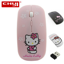 Wireless Mouse Super Thin Hello Kitty 2.4Ghz USB Optical Silence Mouse with Battery Computer Mice Laptop Mause for Girl Children