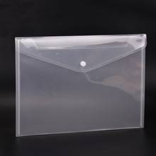 10PCS Office A4 File Bag Transparent Plastic Thicken Button Closure Folder Filing Products Office School Supplies(China)