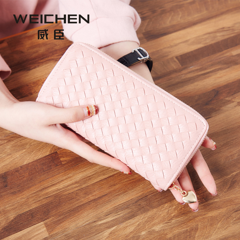 The New Wallet Lady Long Zip Purse Three Fold Hand Bag Woven Bag Purse Quality<br><br>Aliexpress