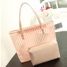 LIXUN Women Transparent PVC Stripped Shopper Tote Bag Ladies Summer Beach Handbags For Teenagers Designer Shoulder Bags Clutches(China)