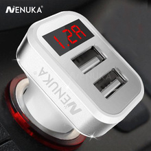 NENUKA 2A Car Charger Dual USB With LED Display Voltage Current Low Voltage Warning Charging For Samsung For iphone Car charger(China)