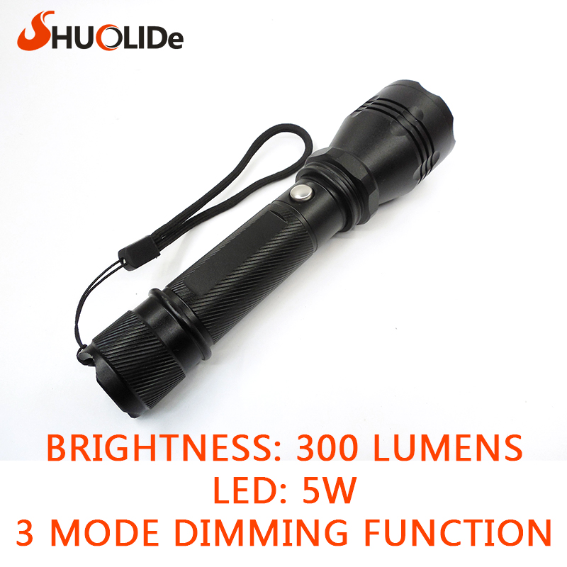 high-quality waterproof Black 300LM 5W Waterproof LED Flashlight 3 Modes LED Torch for bike tatical use 18650 free shipping<br><br>Aliexpress