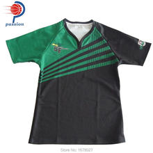 Green Black Striple Reglan Sleeve Rugby Shirts for Boys(China)