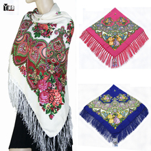 2016 Winter New Fashion women's tassel Scarf Square Floral Printed Brand shawls Female Scarf women cotton scarves wraps 120-2(China)