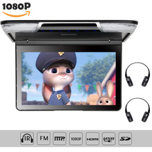 11.6 inch TFT Overhead Ceiling Car Roof Mount Monitor 1920*1080 Flip Down Car Monitor Video Player FM HDMI SD Wireless Headphone