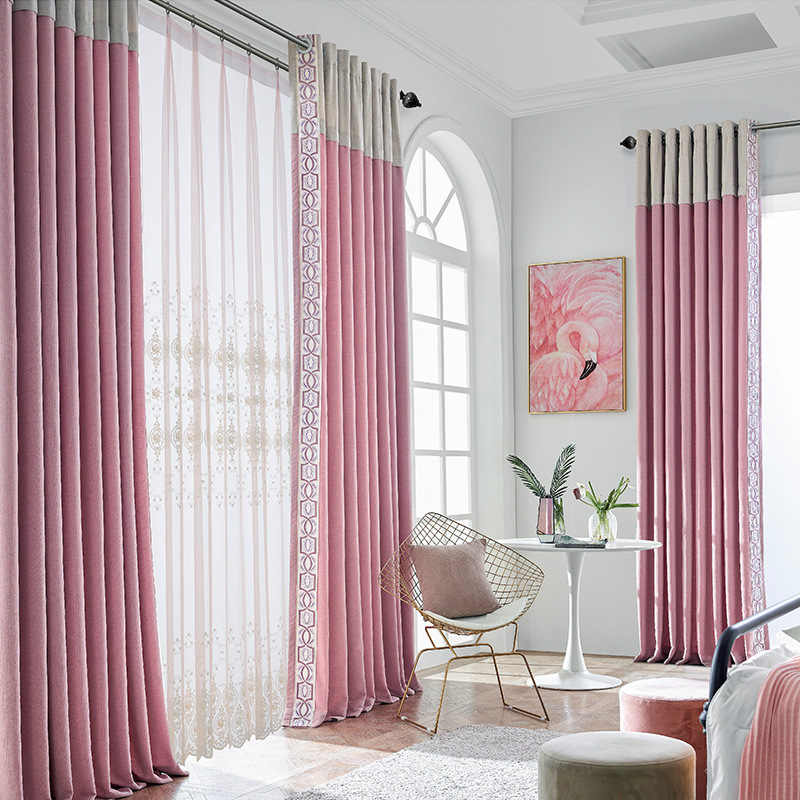 Northern Europe Pink Cheryl  Little Fresh Shading  Curtains for Living Dining Room Bedroom.