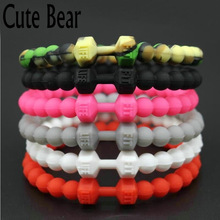 Cute Bear Silicone Bracelets & Bangles Fit Life Fitness Sports Machine Injection Molding Dumbbell Bracelet For Women Men Jewelry