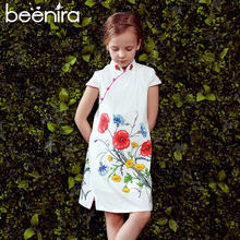 Beenira Girls Dresses 2017 New Brand European And American Style Children Cheongsam Sleeveless White Princess Dress For 4-14Y