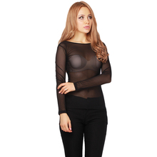 Sexy Women's Long Sleeve Solid Color See-through Tops Tees Black Mesh T Shirt Tops New Arrival HO859516