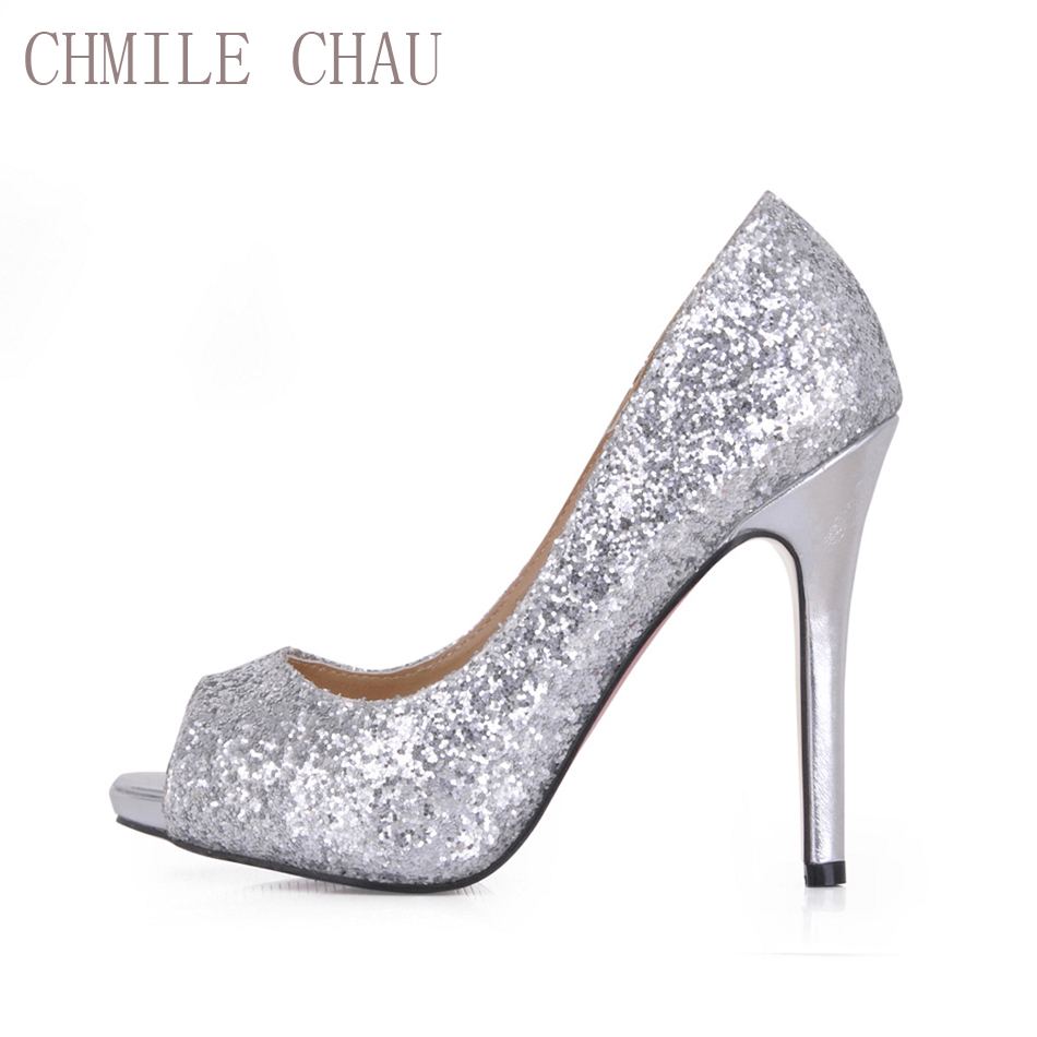 CHMILE CHAU Silver Glitter Sexy Wedding Party Shoe Women Peep Toe Stiletto High Heels Dating Bridal Lady Pumps Zapatos Mujer T3<br>