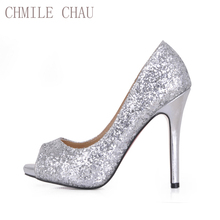 Buy CHMILE CHAU Silver Glitter Sexy Wedding Party Shoe Women Peep Toe Stiletto High Heels Dating Bridal Lady Pumps Zapatos Mujer T3 for $31.60 in AliExpress store