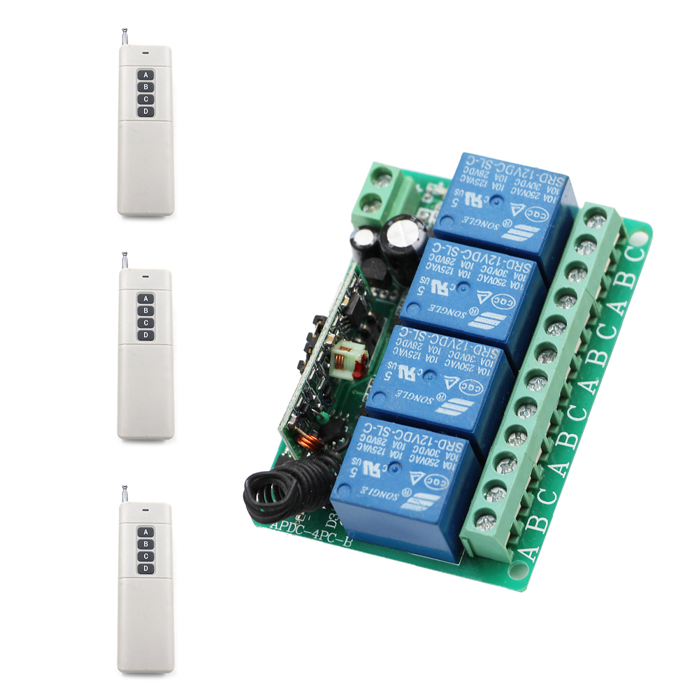Home Automation DC12V 10A 4CH Relay Wireless Remote Control Switch Receiver with 4 Buttons Transmitters 0-1000M High Sensitivity<br>